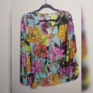 Trina Turk sheer floral blouse